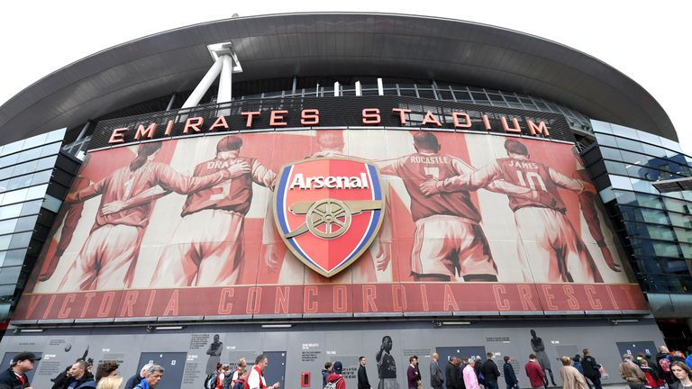 LONDON, ENGLAND - OCTOBER 01:  General view outside the stadium as fans arrive prior to the Premier League match between Arsenal and Brighton and Hove Albi