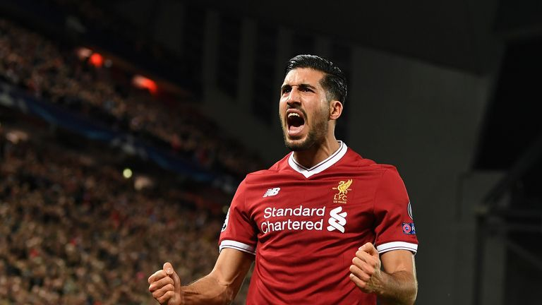 LIVERPOOL, ENGLAND - NOVEMBER 01:  Emre Can of Liverpool celebrates scoring his sides second goal during the UEFA Champions League group E match between Li
