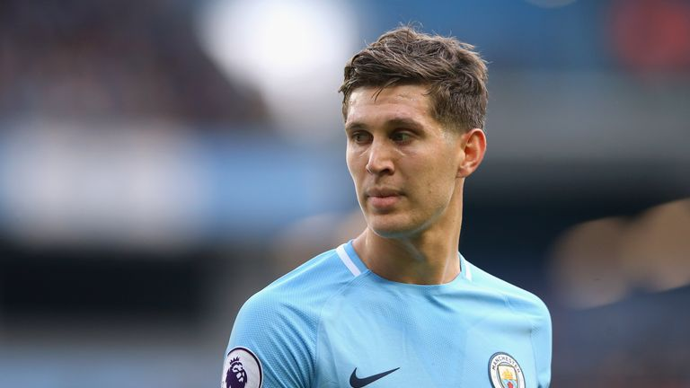 MANCHESTER, ENGLAND - OCTOBER 14:  John Stones of Manchester City looks on during the Premier League match between Manchester City and Stoke City at Etihad