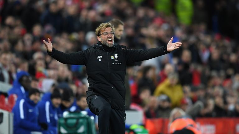 LIVERPOOL, ENGLAND - NOVEMBER 25:  Jurgen Klopp, Manager of Liverpool reacts during the Premier League match between Liverpool and Chelsea at Anfield on No