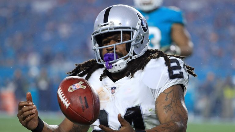 MIAMI GARDENS, FL - NOVEMBER 05:  Marshawn Lynch #24 of the Oakland Raiders looks on during a game against the Miami Dolphins at Hard Rock Stadium on Novem