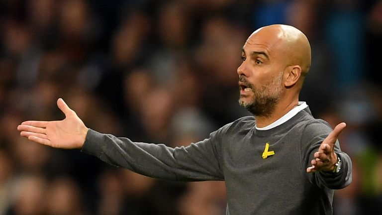 MANCHESTER, ENGLAND - NOVEMBER 21:  Josep Guardiola, Manager of Manchester City reacts during the UEFA Champions League group F match between Manchester Ci