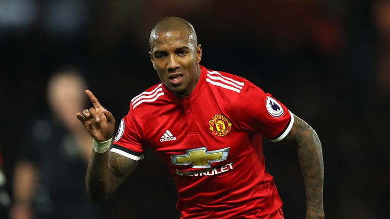 Ashley Young celebrates his second goal