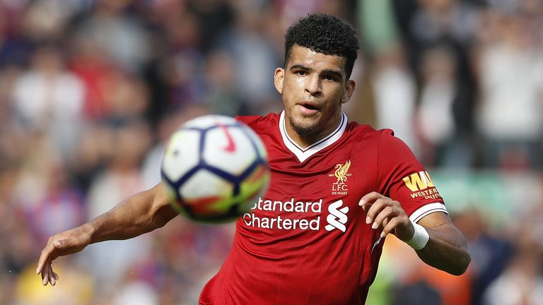 Liverpool's Dominic Solanke during the Premier League match against Crystal Palace at Anfield