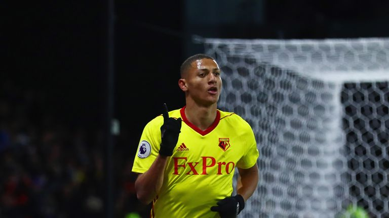 WATFORD, ENGLAND - NOVEMBER 19:  Richarlison de Andrade of Watford celebrates as he scores their second goal during the Premier League match between Watfor
