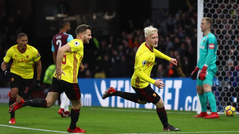 Will Hughes celebrates after opening the scoring against West Ham