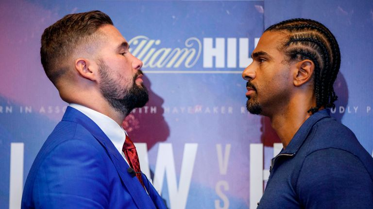 British boxers David Haye (R) and Tony Bellew attend a press conference in London on October 4, 2017, to promote their upcoming heavyweight rematch, due to