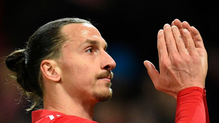 Manchester United striker Zlatan Ibrahimovic applauds as he leaves the pitch at the end of the Premier League match against Newcastle United