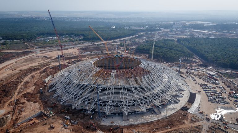 Image of the construction site of the Samara Arena in August 2017
