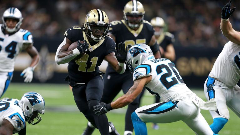 Will Alvin Kamara score a touchdown for the seventh game running