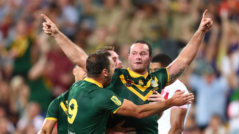 Boyd Cordner of Australia celebrates scoring the only try during the 2017 Rugby League World Cup final