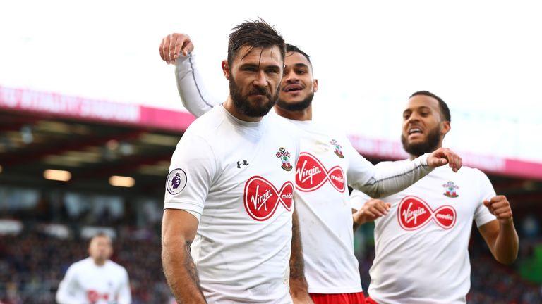 Charlie Austin celebrates after equalising for Saints