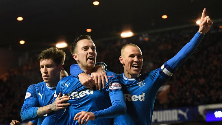 Rangers' Danny Wilson (centre) celebrates as Rangers hit a new landmark of three wins in a row