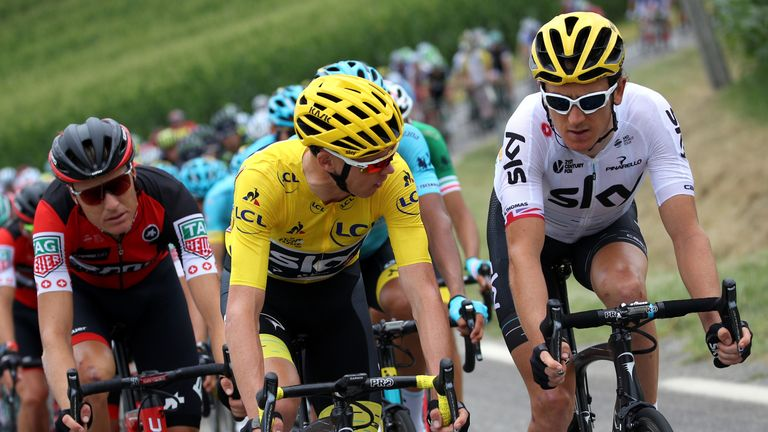 Geraint Thomas (R) says Chris Froome has been affected by the furore about his adverse analytical finding
