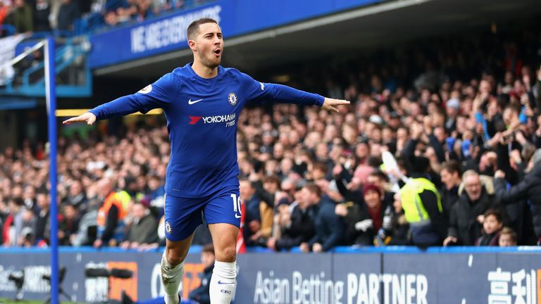 Eden Hazard of Chelsea celebrates after scoring his sides first goal during the Premier League match between Chelsea and Newcastle