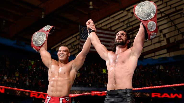 Jason Jordan and Seth Rollins teamed up to win the Raw tag team titles from The Bar