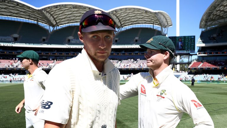 Joe Root congratulates Steve Smith after Australia's 120-run win in Adelaide
