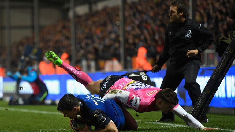 Johnny Sexton scored Leinster's first try despite attention from Henry Slade