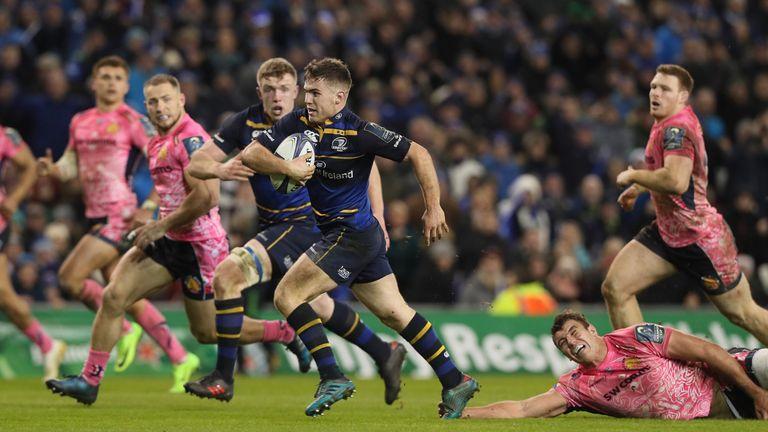 Luke McGrath powers over for Leinster's winning try against Exeter