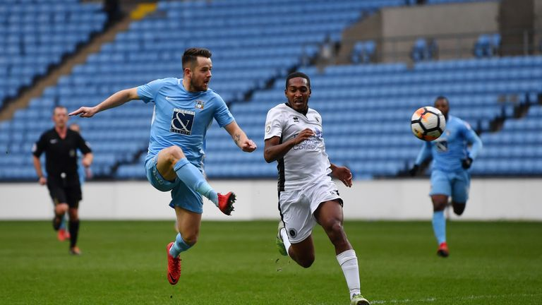 Marc McNulty scores Coventry's second goal against Boreham Wood
