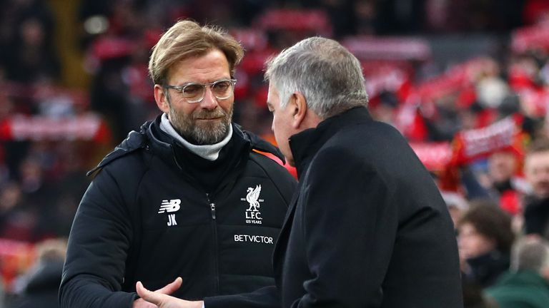 Klopp shakes hands with Allardyce before kick-off