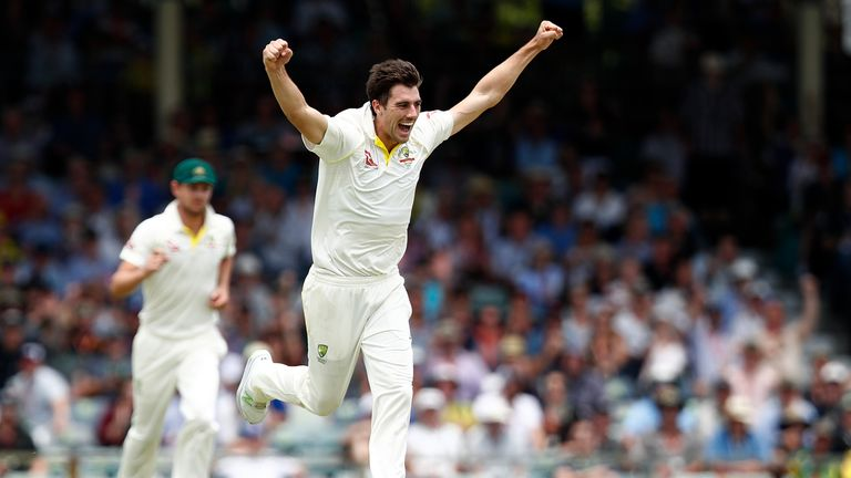 Pat Cummins of Australia celebrates the wicket of Moeen Ali of England during day two of the Third Test