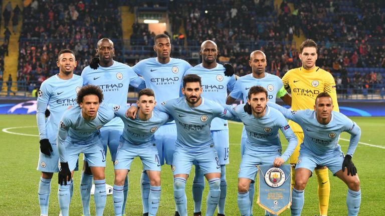 Phil Foden (bottom row, second left) poses with his team-mates before kick-off