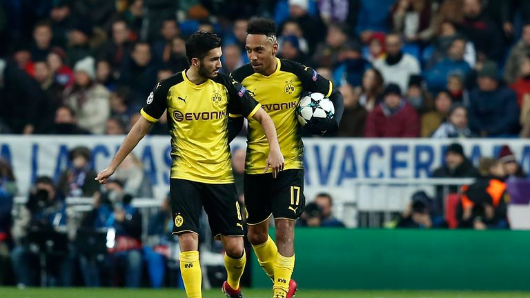 Pierre-Emerick Aubameyang celebrates his second goal with Nuri Sahin