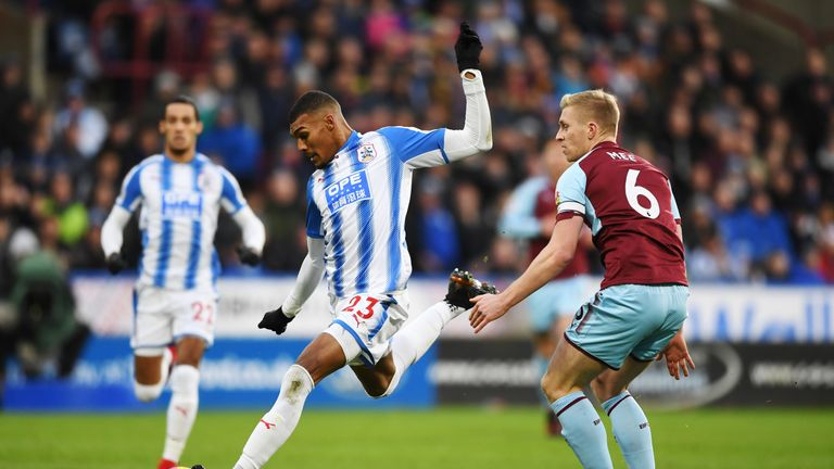 Huddersfield's Collin Quaner takes a shot