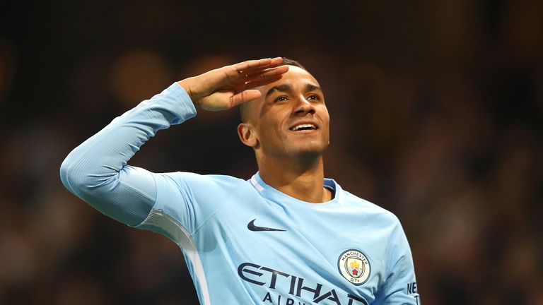 Danilo celebrates after scoring Manchester City's fourth goal against Bournemouth