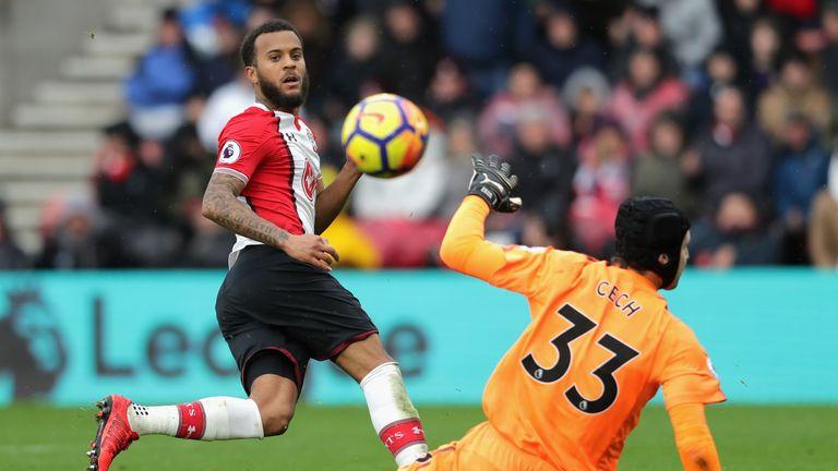 Ryan Bertrand misses a chance to make it 2-0 to Southampton