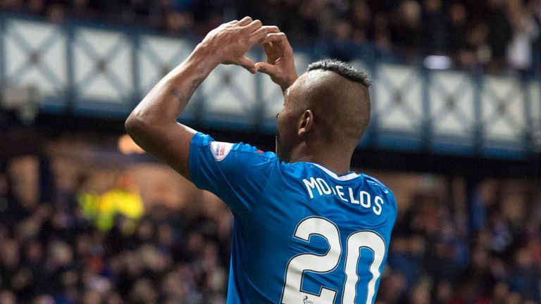 Rangers' Alfredo Morelos celebrates his equaliser against Ross County