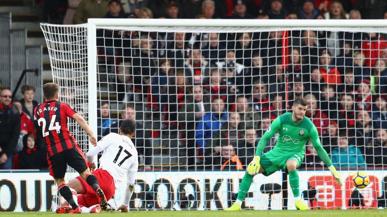 Ryan Fraser puts Bournemouth ahead against Southampton