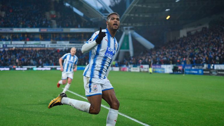 Steve Mounie celebrates his second for Huddersfield