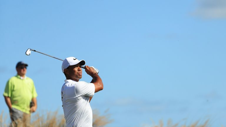 Woods was six under for the day after 11 holes before faltering down the stretch