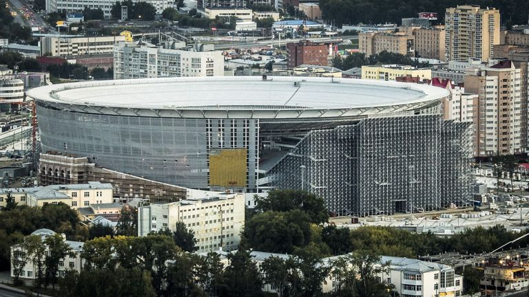 The Yekaterinburg Arena undergoing renovation work for the 2018 World Cup