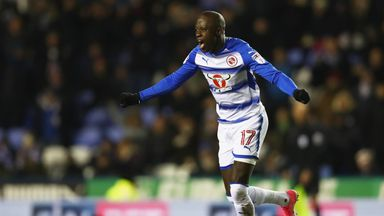 Mo Barrow celebrates after putting Reading 2-0 ahead just before half-time