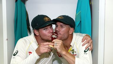 Steve Smith and David Warner celebrate in the changing room after Australia regained the Ashes