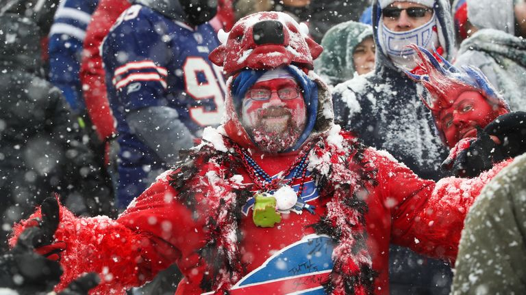 ORCHARD PARK, NY - DECEMBER 10:  A Buffalo Bills fan during the second quarter of a game against the Indianapolis Colts on December 10, 2017 at New Era Fie