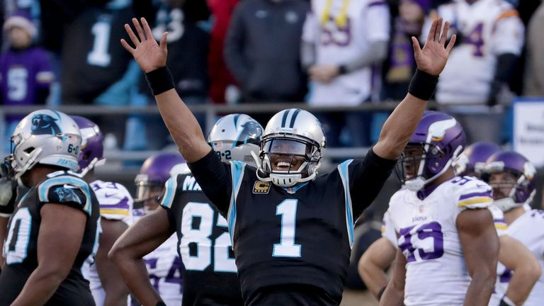 CHARLOTTE, NC - DECEMBER 10:  Cam Newton #1 of the Carolina Panthers reacts to a game winning touchdown against the Minnesota Vikings in the fourth quarter