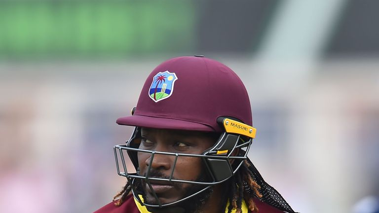 West Indies' Chris Gayle leaves the field after losing his wicket for two during the fourth One-Day International (ODI) cricket match between England and t