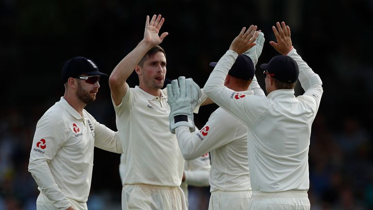 PERTH, AUSTRALIA - DECEMBER 15: Chris Woakes of England celebrates the wicket of Usman Khawaja of Australia during day two of the Third Test match during t