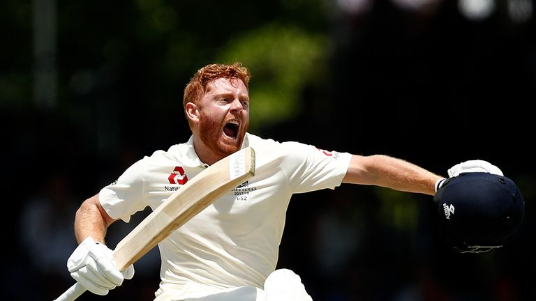 PERTH, AUSTRALIA - DECEMBER 15: Jonny Bairstow of England celebrates his century during day two of the Third Test match during the 2017/18 Ashes Series bet