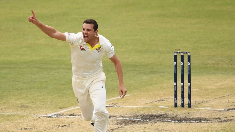 Josh Hazlewood of Australia celebrates after taking the wicket of Jonny Bairstow of England during day five