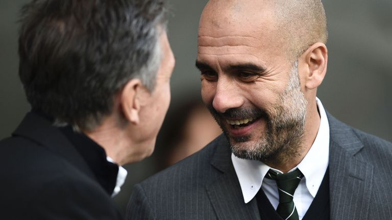 Claude Puel says Pep Guardiola's tactics in defene are as impressive as his commitment to play attacking football