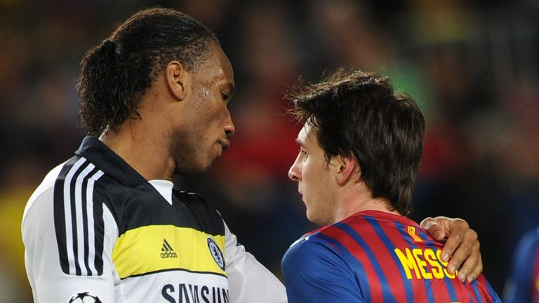 Didier Drogba consoles Lionel Messi - who hit the bar with a penalty - after Chelsea's Champions League semi-final aggregate win over Barcelona in 2012