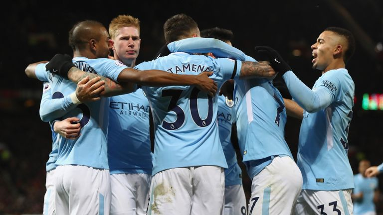 Nicolas Otamendi of Manchester City celebrates scoring the 2nd Manchester City goal with team-mates during the Premier League match