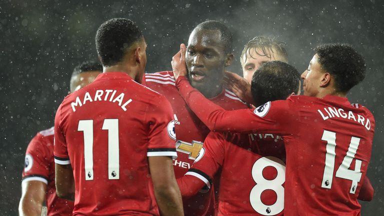 Romelu Lukaku celebrates after making it 1-0