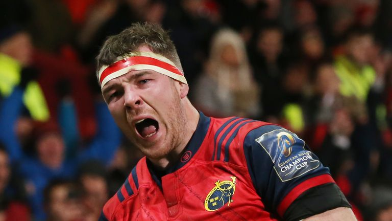 Munster's Peter O'Mahony celebrates a try during the European Rugby Champions Cup, Pool Four match at Thomond Park, Limerick.
