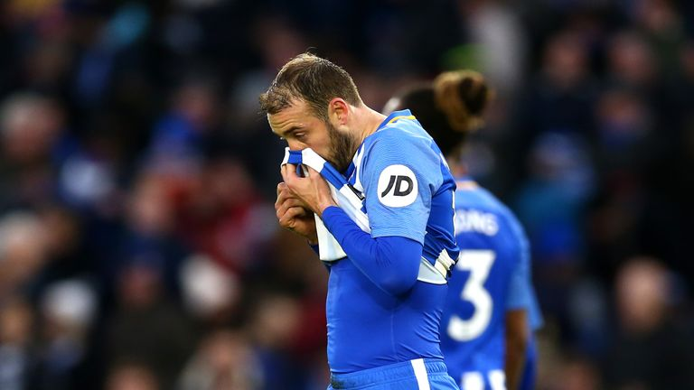 BRIGHTON, ENGLAND - DECEMBER 16:  Glenn Murray of Brighton and Hove Albion reacts after missing the penalty shot during the Premier League match between Br
